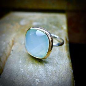 Blue Chalcedony Irish Ring