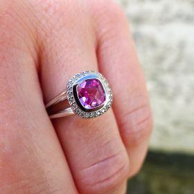 Pink Tourmaline set with diamonds in white gold. Irish jewellery