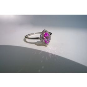 Floating Pink Sapphire and Diamond Halo Ring