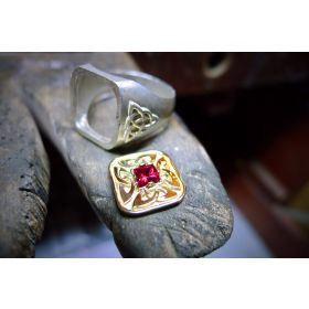 Ruby Celtic Signet ring