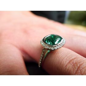 Emerald and Diamond Cushion Cut ring
