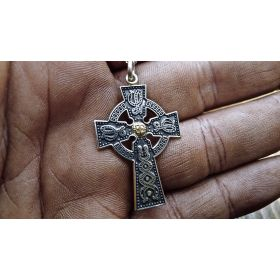 10k Yellow Gold With Silver Celtic Cross