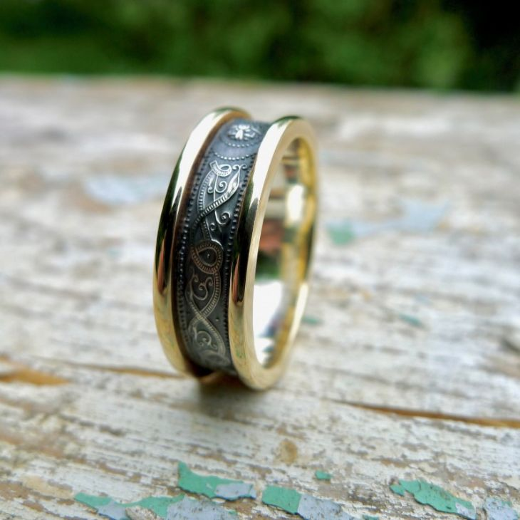 Gold Celtic Ring With Antiqued Silver