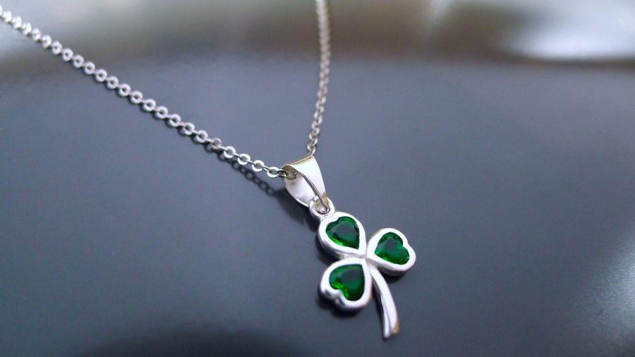 Sterling Silver Shamrock Pendant Celtic Knot Shamrock Pendant Insured Worldwide Shipping Handmade in Ireland Irish Shamrock pendant